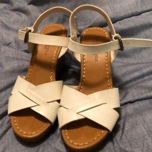 White sandal wedges